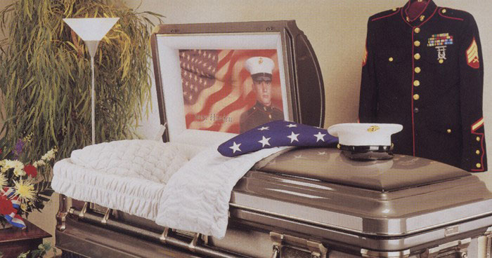 Casket personalization at Forest Lawn Funeral Home